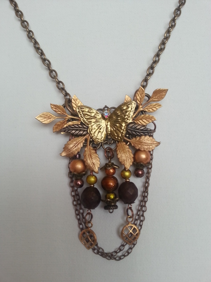 Handcrafted Collaged Fall Necklace on white background
