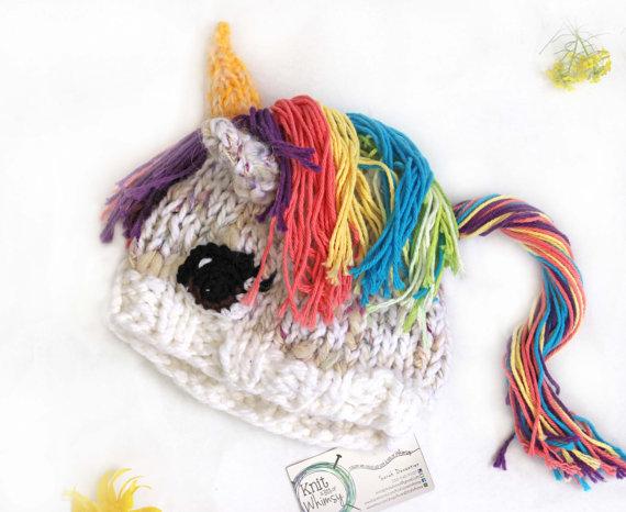 Rainbow unicorn hat KnitaBitofWhimsy